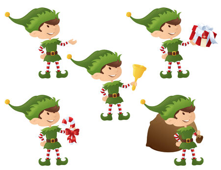 Elf holding bell, candy cane, sack, gift. Vector