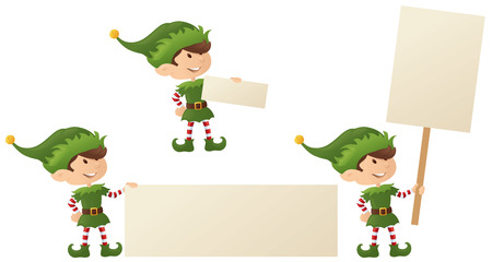 Elf holding your message. Vector