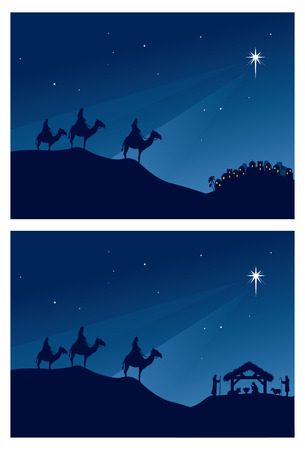 Wise men travel to Bethlehem. Vector