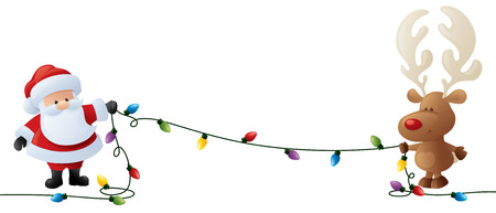 święta bożego narodzenia: Santa i Rudolph przytrzymaj ciąg Christmas światła. Ilustracja