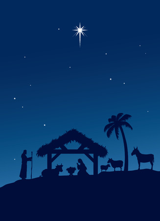 Classic Nativity scene. Illustration