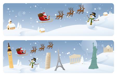 world village: Santas travels. Web banners.