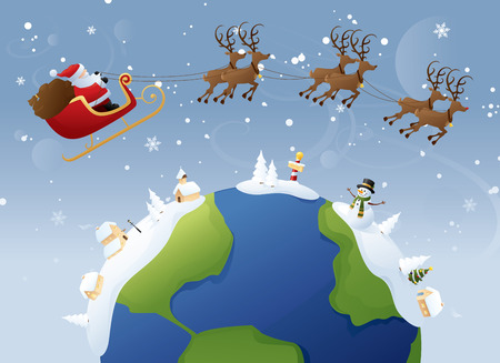 Santa delivers around the globe - who needs Amazon! Ilustrace