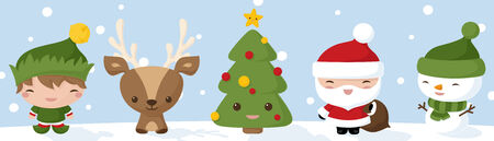 Christmas icons drawn in Kawaii style