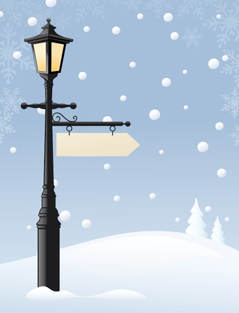 Old street lamp with a sign for the message of your choice. Sign and snow can easily be removed and lamp used on its own. Illustration