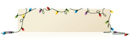 Kerstverlichting, gedrapeerd over de boodschap van uw keuze. Stock Illustratie