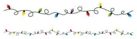 christmas lights: Seamless string of coloured lights.