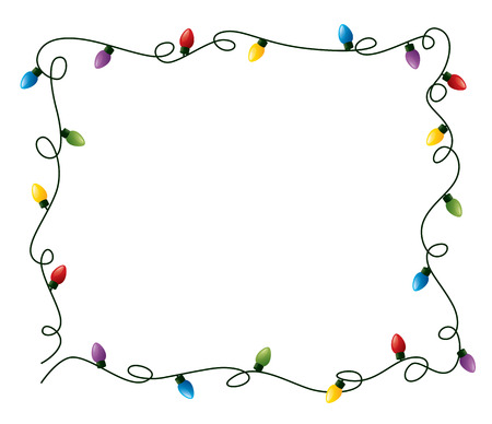 christmas lights: Curly fairy lights frame.