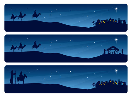 Wise men and Mary and Joseph journeying to Bethlehem.
