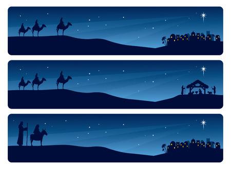 burro: Los hombres sabios y María y José en camino a Belén. Vectores
