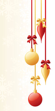 ribbons and bows: Dangling baubles with ribbons and bows.