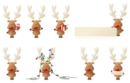 8 separately grouped little Rudolphs. Vector