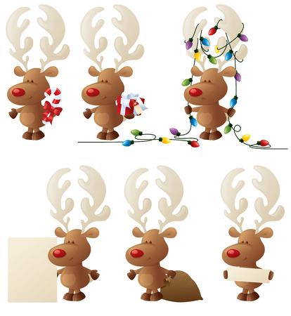 Rudolph performing various tasks. Illustration