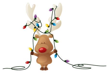 Rudolph does his best to help with the decorating. Vector