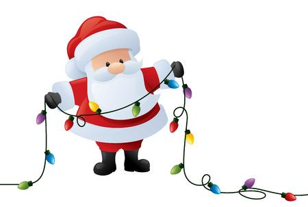 Santa holds a string of Christmas lights. Illustration