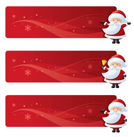 tubby: Festive banners with little Santas. Illustration
