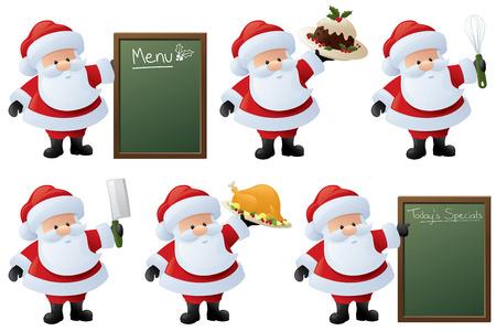 foodie: Foodie Santa with menus, food, and utensils.