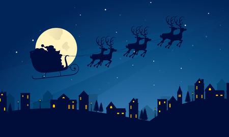papa noel en trineo: Escena de la noche de silueta de trineo de Santa Claus.