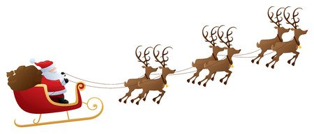 Santas sleigh and reindeer.
