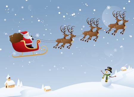papa noel en trineo: Santa en su viaje anual.