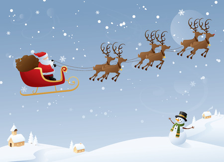 Santa on his yearly journey. Vector
