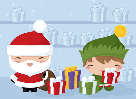 green elf: Santa and his elf in the gift factory