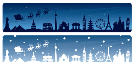 Santas world tour banners. Vector