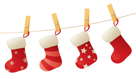 clothespeg: Christmas stockings hanging on a line. Illustration
