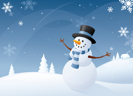 Blue and white snowman scene. Illustration