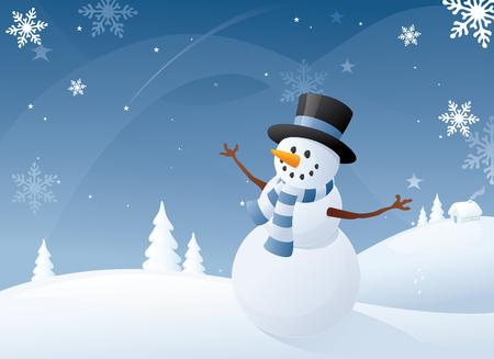 snow scenes: Blue and white snowman scene. Illustration