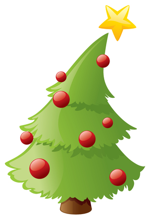bent: Little tree leans over under the weight of its star. Illustration