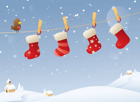 Stockings hanging on a line in the snow.