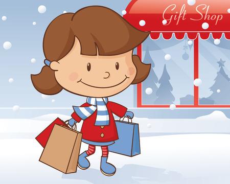 carrier bag: Little girl doing some festive shopping.