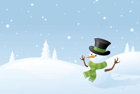 winter scene: Winter scene with happy little snowman.