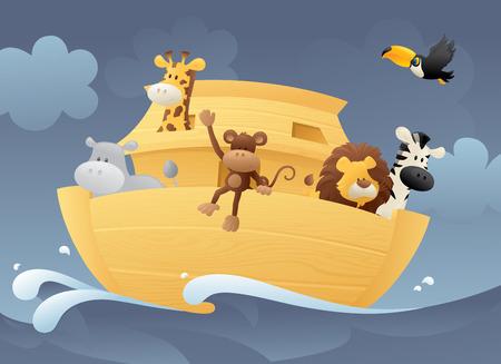 ark: Noahs Ark scene. Illustration