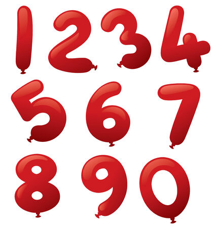 number 9: Number shaped balloons. Illustration