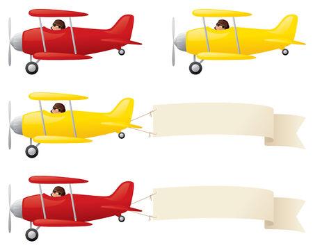 Biplanos amarillos y rojos, remolcando su mensaje. Ilustración de vector