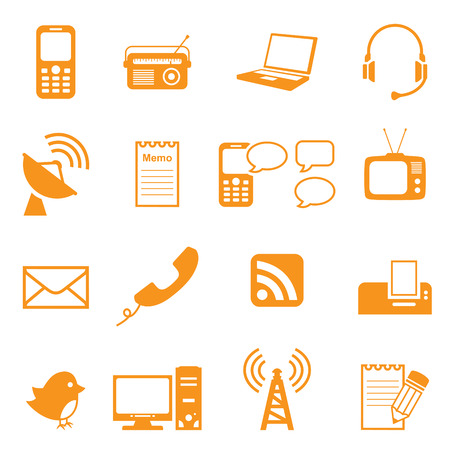 relating: Simple icons relating to communication. Easy to change colour.