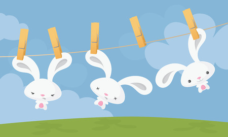 Easter bunnies on clothesline.