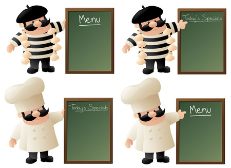frenchman: Frenchman and little chef with blank menu boards.