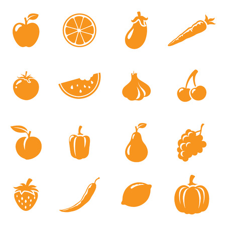 watermelon slice: 16 fruit and vegetable icons. Easy to change colour.
