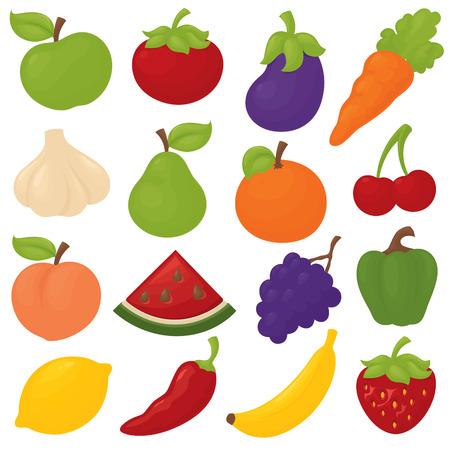 Frutta gratuita gradiente e le icone verdura. Archivio Fotografico - 32709425