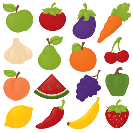 Gradient free fruit and veg icons.