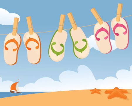 clothes peg: Flip flops drying by the sea.