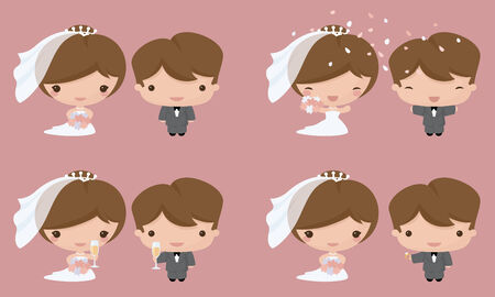 engagement ring: Bride and groom in Kawaii style. Gradient free. Illustration