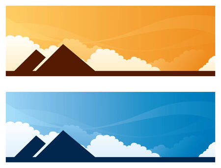 copyspace: Pyramids day and sunset sky banners with copyspace Illustration
