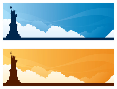 copyspace: Statue of Liberty day and sunset sky banners with copyspace.