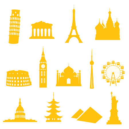 pisa cathedral: 13 gradient free landmark icons - easy to change colour.