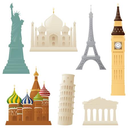 Simple representations of some world landmarks. Illustration