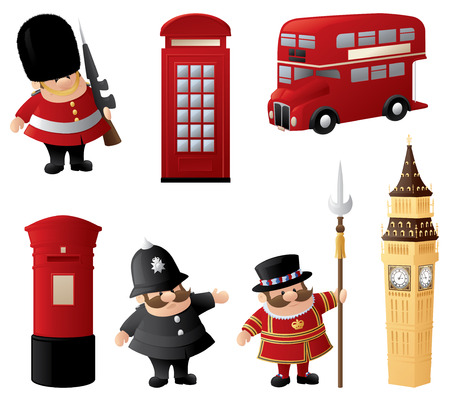 Iconic symbols of London. Vector